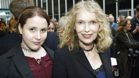 """Mia Farrow and then-teen daughter Malone Farrow arrive at the opening night of """"Gypsy"""" on Broadway at The Shubert Theatre in 2003 in New York. Malone previously went by the name """"Dylan"""" and has accused Woody Allen of assaulting her when she was 7 years old, <a href=""""http://www.cnn.com/2014/02/01/showbiz/dylan-farrow-open-letter/"""">a claim Allen has denied.</a>"""