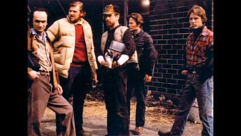 """<strong>""""The Deer Hunter"""" (1979):</strong> Hollywood began to explore the Vietnam War in the late '70s. Michael Cimino's """"The Deer Hunter"""" examined the effects on steelworkers, from left, John Cazale, Chuck Aspegren, Robert De Niro, John Savage and Christopher Walken. Cimino and Walken also won Oscars for best director and best supporting actor, respectively."""