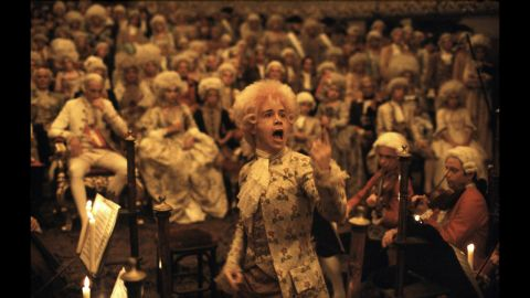 """<strong>""""Amadeus"""" (1985):</strong> Another epic, """"Amadeus"""" was based on Peter Shaffer's award-winning play about composer Wolfgang Amadeus Mozart (Tom Hulce) and his rival, Antonio Salieri. The film won eight Oscars, including awards for director Milos Forman -- his second, after """"One Flew Over the Cuckoo's Nest"""" -- and star F. Murray Abraham, who played Salieri."""