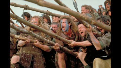 """<strong>""""Braveheart"""" (1996):</strong> Mel Gibson directed and starred in the story of Scottish warrior William Wallace, who led the Scottish army against English invaders led by King Edward I. The film won five Oscars, including best picture and best director, and has led to countless sports teams yelling """"Freedom!"""" as they go up against opponents."""