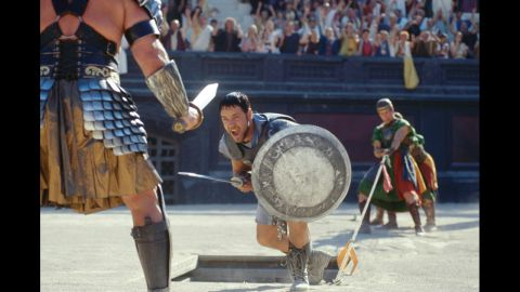 """<strong>""""Gladiator"""" (2001):</strong> Russell Crowe stars as Maximus in """"Gladiator,"""" the hugely successful Ridley Scott film about a warrior in ancient Rome. The film took home five Oscars, including best actor for Crowe."""