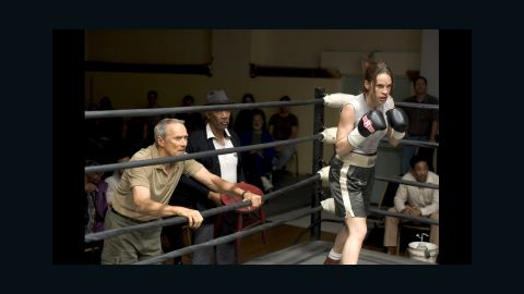 """<strong>""""Million Dollar Baby"""" (2005):</strong> """"Million Dollar Baby"""" is about an old trainer (Clint Eastwood, left, with Morgan Freeman and Hilary Swank) who takes on a female boxer, with unforeseen consequences. The film won four Oscars, including a directing prize for Eastwood, best actress for Swank and best supporting actor for Freeman."""