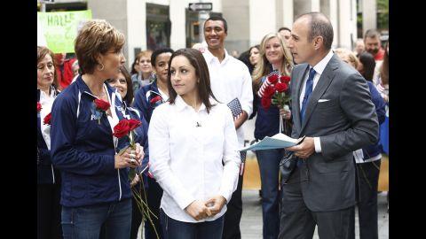 "U.S. gymnast Jordyn Wieber listens as her mother, Rita, talks to NBC's Matt Lauer on the ""Today"" show in 2012."
