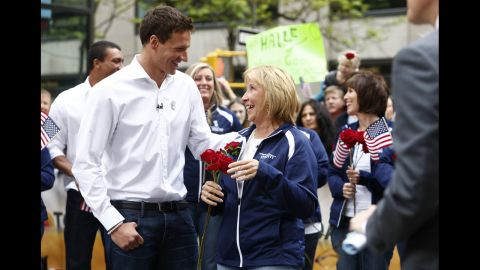 """U.S. swimmer Ryan Lochte and his mother, Ileana, appear on the """"Today"""" show in 2012."""