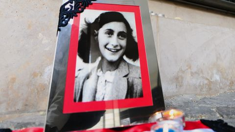 A portrait of Anne Frank at the memorial of Central Europe's first Holocaust museum in Budapest on January 27, 2014.