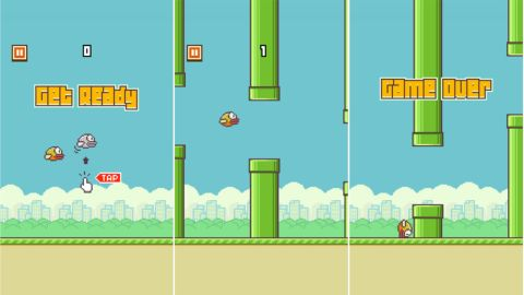"""The three stages of the addictive """"Flappy Bird"""" smartphone game: hope, adrenaline and grief."""