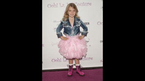 Mia Talerico attends Ooh! La, La! Couture 5th Annual Tutus4Tots Charity Event on February 1, 2014, in Los Angeles.