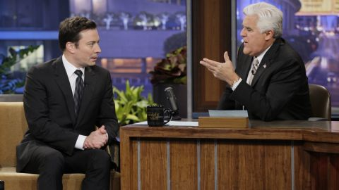 THE TONIGHT SHOW WITH JAY LENO -- Episode 4607 -- Pictured: (l-r) Jimmy Fallon during an interview with host Jay Leno on February 3, 2014 -- (Photo by: Chris Haston/NBC/NBCU Photo Bank via Getty Images)