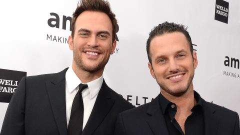 """""""Glee"""" actor Cheyenne Jackson, left, reportedly married actor Jason Landau on September 2014. <a href=""""http://www.people.com/article/cheyenne-jackson-marries-jason-landau"""" target=""""_blank"""" target=""""_blank"""">According to People</a>, the pair had an outdoor interfaith ceremony at a friend's estate in Encino, California."""