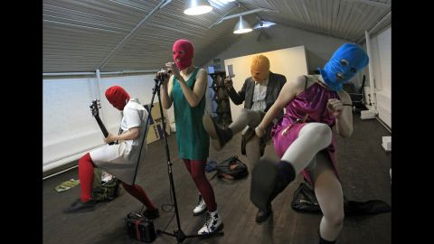 Members of the Russian radical feminist group Pussy Riot during their rehearsal in Moscow, Friday, Feb., 17, 2012. Members of the group stage performances against the policies conducted by Prime Minister Vladimir Putin. (AP Photo/Sergey Ponomarev)
