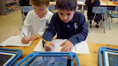 Powers captured this photo to document her first-grade students' research on penguins.