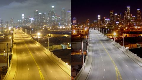 The Sixth Street bridge over the Los Angeles River looks a bit different with old, left, and new streetlights.