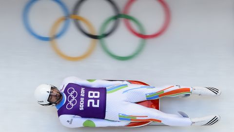 Independent Olympic Participant Shiva Keshavan takes part in a training session for the Men's Luge Singles at the Sliding Center Sanki during the Sochi Winter Olympics on February 7, 2014.