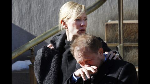 """Actress Cate Blanchett and her husband, Andrew Upton, leave the funeral service. Hoffman and Blanchett co-starred in """"The Talented Mr. Ripley."""""""