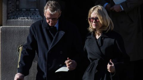"""Director Mike Nichols and his wife, Diane Sawyer, attended the service. Nichols directed Hoffman on Broadway in """"Death of a Salesman."""""""