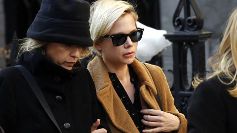 """Actress Michelle Williams, wearing glasses, worked with Hoffman in """"Synecdoche, New York."""""""