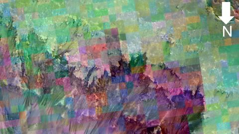 An image of seasonal flows is combined with colors representing minerals in the area.