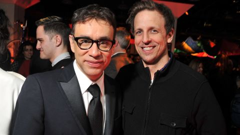 """Seth Meyers, right, takes over """"Late Night"""" with Fred Armisen as bandleader."""
