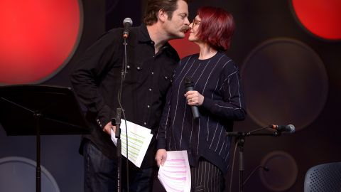 """<a href=""""http://www.youtube.com/watch?v=IImEd__4sGU"""" target=""""_blank"""" target=""""_blank"""">Nick Offerman's key to Megan Mullally's heart</a>: """"If you're in a relationship, you should make gestures to your significant other. I always try to make Megan a card or a gift. Cards are not that hard. ... Go to the printer. There's paper inside the printer. Discern how to get the paper out of the printer. Take one sheet, fold it in half, draw a heart on it, sign your name, write I love you. A bonus tip is to go outside and get a little piece of nature: a shell, a leaf ... some bark. Adhere that piece of nature to the center of the heart, and then get stretched out, because you're going on a ride to the realm of coitus."""""""