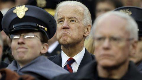 Joe Biden watches the Army-Navy football game in Philadelphia in December 2012.