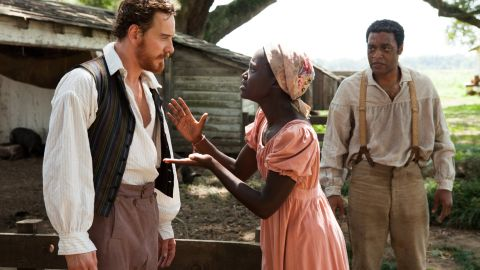 In the film, Nyongo's character is a young slave who has a volatile relationship with her erratic slave master.