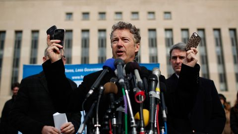 In February 2014, Paul announced that he was suing President Barack Obama and top national security officials over the government's electronic surveillance program made public by intelligence leaker Edward Snowden.