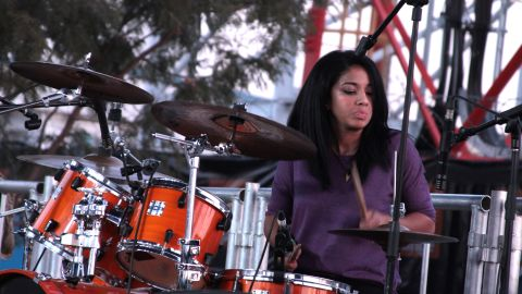 """Skinflint's new drummer, Alessandra Sbrana, is a rare female musician in Botswana's rock scene.<br />One female rock fan, Katie, told CNN: """"I just enjoy it. It's a happy feeling. If you knew my brothers and sisters, it's something that we are as a family."""