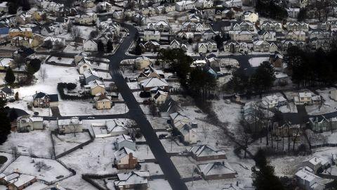 Snow and ice cover an Atlanta neighborhood on February 13.