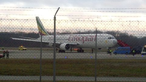 Ethiopian Airlines flight en route to Rome which was hijacked on February 17, 2014 and forced to land in Geneva, where the hijacker has been arrested.