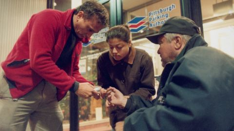Withers dispenses much-needed medication.