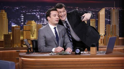 """Jimmy Fallon's takeover of """"The Tonight Show"""" has been inevitable, <a href=""""http://www.gq.com/style/wear-it-now/201304/jimmy-fallon-interview-gq-april-2013"""" target=""""_blank"""" target=""""_blank"""">show producer Lorne Michaels told GQ</a>. """"He's the closest to (Johnny) Carson that I've seen of this generation,"""" Michaels said. Stephen Colbert joins him to take a selfie on his debut Monday night. Fallon is the latest in a six-decade line of """"Tonight"""" hosts."""