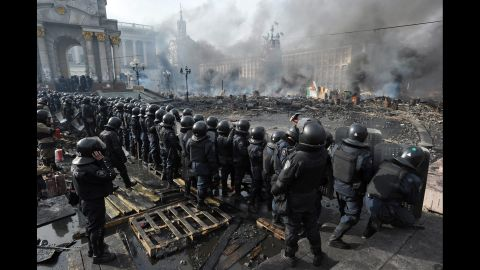 Riot police line up in Kiev on February 19.