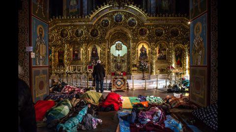 Protesters sleep on the floor inside a Kiev monastery on February 19.