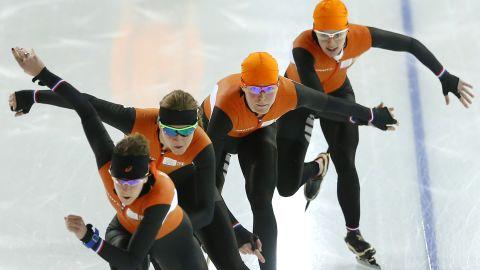 Dutch speedskaters practice on February 20.