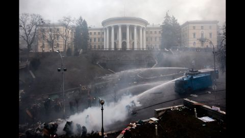 Police use water cannons against protesters in Kiev on February 20.