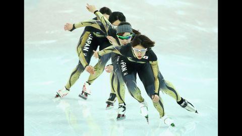 Japanese speedskaters train on February 20.