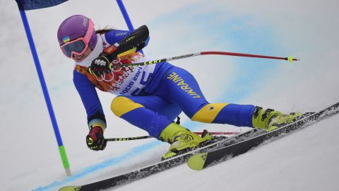 (FILES) A photo taken on February 18, 2014 shows Ukraine's Bogdana Matsotska competing during the Women's Alpine Skiing Giant Slalom Run 1 at the Rosa Khutor Alpine Center during the Sochi Winter Olympics. Matsotska and her coach Oleg Matsotskiy, who is also her father, have pulled out of the Sochi Games in protest at the authorities' deadly use of force against the protests in Kiev, they said on February 20, 2014. AFP PHOTO / OLIVIER MORINOLIVIER MORIN/AFP/Getty Images