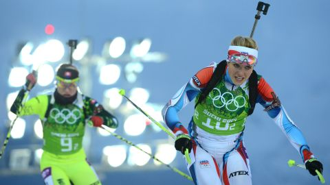 Slovakia's Paulina Fialkova, left, and the Czech Republic's Gabriela Soukalova compete in the women's biathlon relay on February 21.