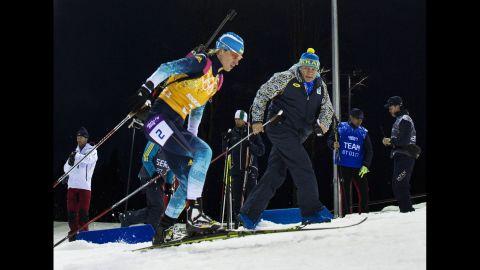 Ukrainian biathlete Valj Semerenko competes in the women's team relay on February 21.