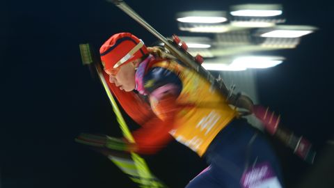 Biathlete Ekaterina Shumilova of Russia competes in the women's team relay on February 21.