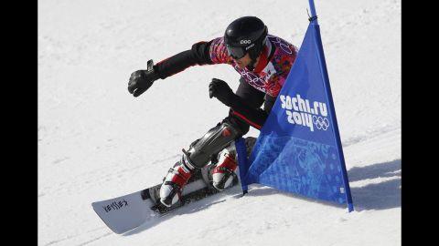 Bulgaria's Radoslav Yankov competes during snowboard parallel slalom qualifying on February 22.