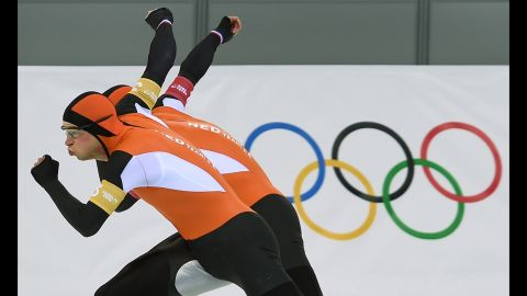 The Netherlands' Sven Kramer and Jan Blokhuijsen compete on February 22 in the men's speed skating team pursuit final.