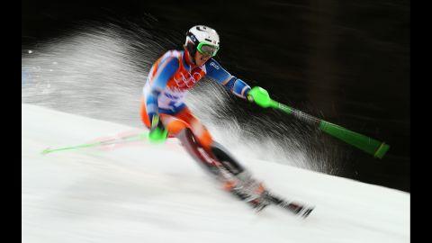 Henrik Kristoffersen of Norway in action on February 22 during the men's slalom.