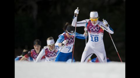 Sara Linborg of Sweden competes in the women's 30-kilometer mass start free cross-country on February 22.