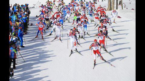 Chris Andre Jespersen of Norway leads in the men's 50-kilometer mass start free on February 23.