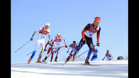 Ilia Chernousov of Russia competes in the men's 50-kilometer mass start free on February 23.