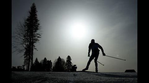 An athlete takes part in the men's 50-kilometer mass start free on February 23.