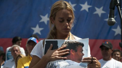 Lilian Tintori de Lopez attends an anti-government demonstration in Caracas on February 22.
