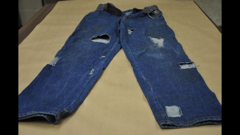 These are the jeans Elmore was wearing the night prosecutors said Edwards was killed. A state expert told jurors that blood stains matched the victim's blood type. But Elmore's team said a law enforcement agent took them from the crime lab, exposing them to tampering. The scant amount of blood also suggested that they were not worn during the bloody attack, according to defense experts.