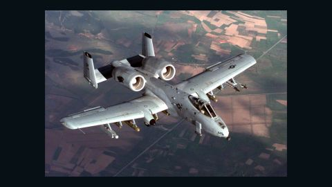 """The A-10 Thunderbolt jets, nicknamed """"Warthogs,"""" are specially designed for close air support of ground forces. Key to their armaments is a 30mm Gatling gun. The pilot is protected from ground fire by titanium armor, and the plane's fuel cells are self-sealing in case of puncture."""